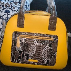 Vera Bradley Yellow Bowler Bag purse python print
